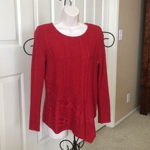 Deep red sweater asymmetric hem
